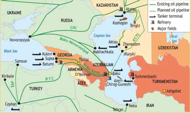 Cinci state riverane își împart Marea Caspică, bogată în hidrocarburi