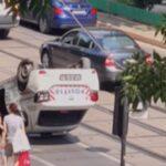 Mașină de Poliție, ce  transporta deținuți, răturnată, într-un accident rutier